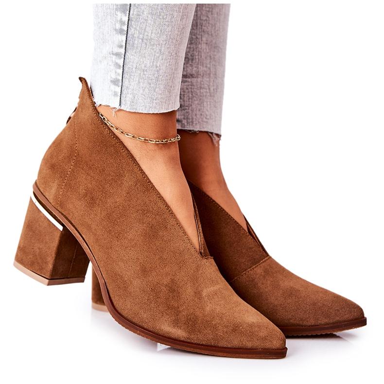 Læderstøvler på høj hæl Laura Messi Brown 2344 brun