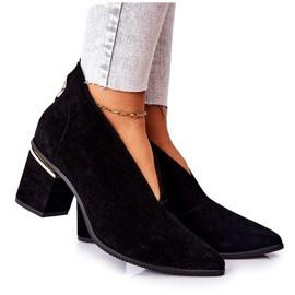 Læderstøvler på høj hæl Laura Messi Sort 2344