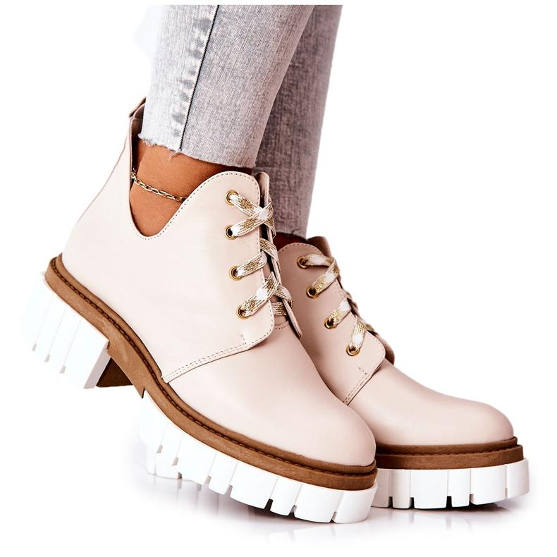 PA2 Læderstøvler med udskåret beige Kaxo