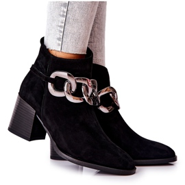 Læderstøvler med kæde Laura Messi Sort 2345