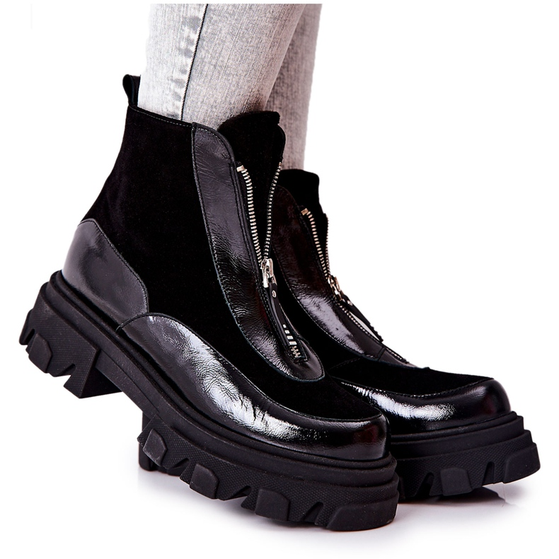 Læderisolerede støvler Laura Messi Black 2371 sort