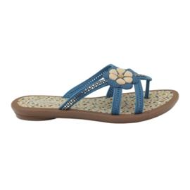 Rider blå Flip flops børns sko med en blomst til vandet Grendha