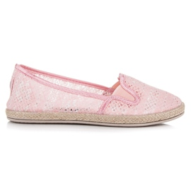 Balada pink Lace Espadrilles Slip On