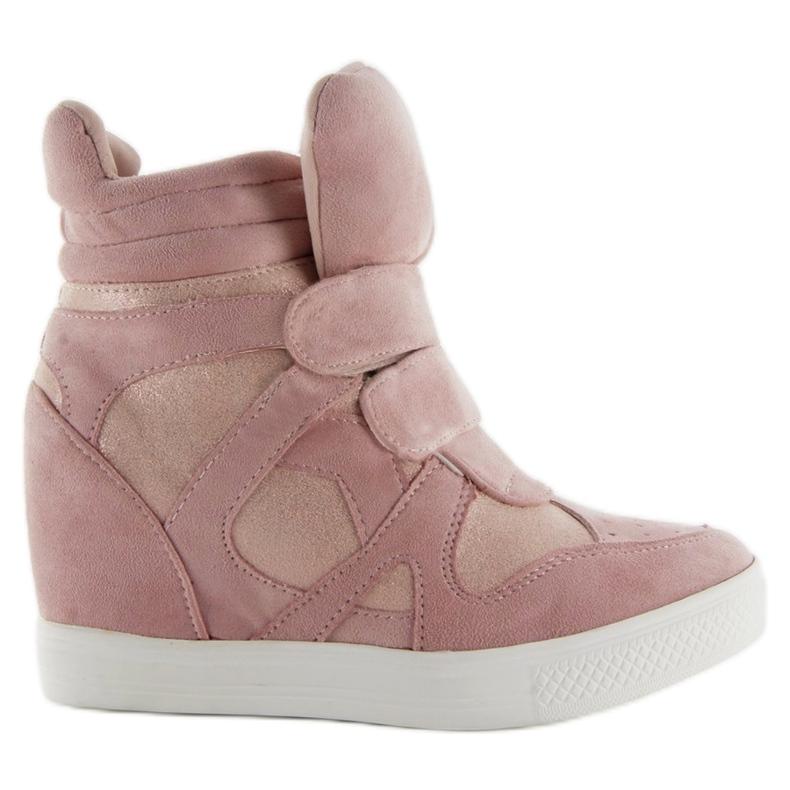 Suede sneakers Velcro lukning Pink