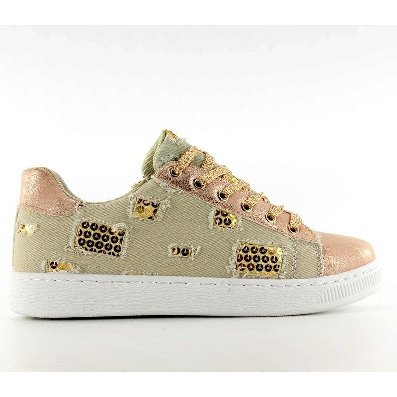 Rose guld / beige vintage sneakers