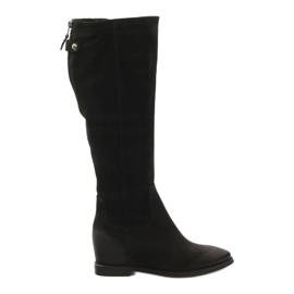 Støvler med dekorativ Edeo 3138 lynlås sort
