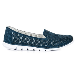 Vinceza navy Openwork Leather Lords