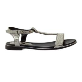 Daszyński grå Sandaler med flade hæle og zirkoner