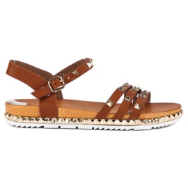 Anesia Paris brun Rock Flat Sandals