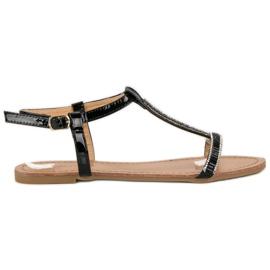 Abloom sort Lakerede flade sandaler