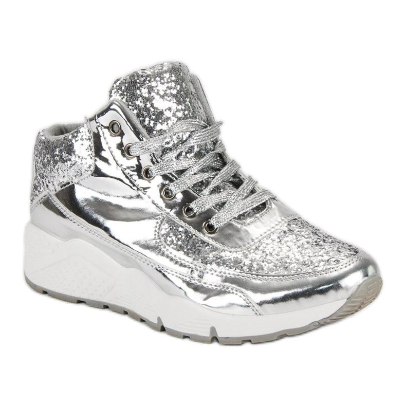 Sølv sneakers med glitter grå