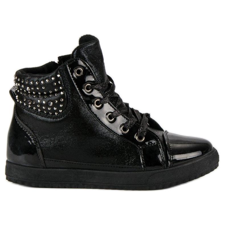 Bundne sneakers sort