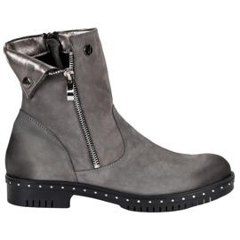 Grå Læderstøvler fra VINCEZA