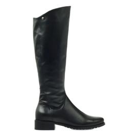 Lange sorte støvler Edeo 2206