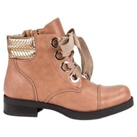 Bestelle pink Pulverstøvler på flad hæl