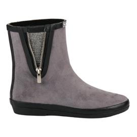 Kylie Suede Wellington Støvler Med Dekorative Zip grå