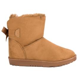 Brun Camel Snow Boots med en bue