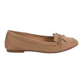 Small Swan Mørke beige loafers med en bue brun