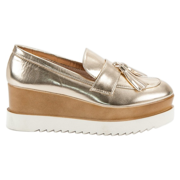 Corina Golden Loafers On Wedge gul