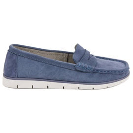 Blå VINCEZA lædermokasiner