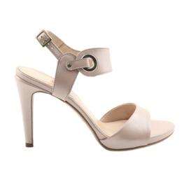 Sandaler læder på en pin Edeo 3208 pink pulver