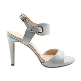 Sandaler læder på en pin Edeo 3208 grå