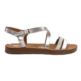 Filippo grå Sølv Sandaler Med Krystaller