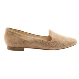 Brun Lordsy kvinders læderballetsko Caprice 24203 beige