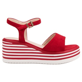 Vinceza Komfortable Wedge Sandals rød