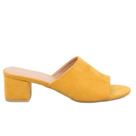 Højhælede gule flip-flops QL-89 Yellow