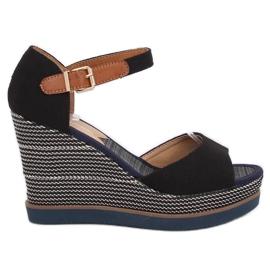 Sandaler, kilehæl, sort 9079 Sort