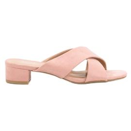 Small Swan pink Elegant Suede Flip