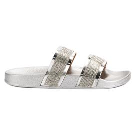 Seastar Sølv Tøfler Med Krystaller grå