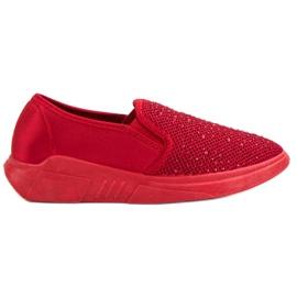 SHELOVET Tekstil Fodtøj Med Krystaller rød