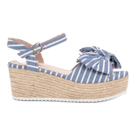 Seastar blå Wedge Sandals With Bow