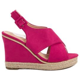 Anesia Paris pink Suede Sandaler På Wedge