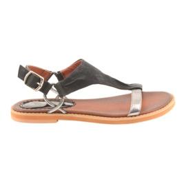 Sandaler flad hæl Daszyński sølv sort