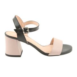 Kvinders sandaler Edeo 3339 pulver / sort