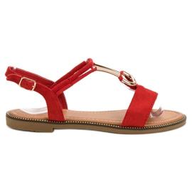 Laura Mode rød Suede Sandaler
