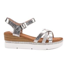Seastar grå Moderigtige sandaler med zirkoner