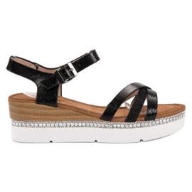 Seastar sort Moderigtige sandaler med zirkoner