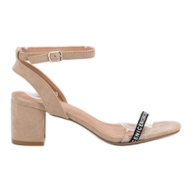 Ideal Shoes brun Stilfuld Suede Sandaler