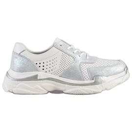 Goodin hvid Læder Sneakers Med Brocade