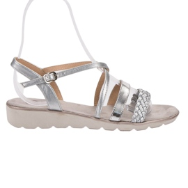 Kylie grå Sølv Sandaler På Platformen