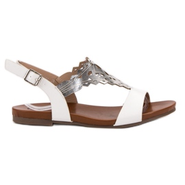 Kylie hvid Stilfuldt Flad Sandaler