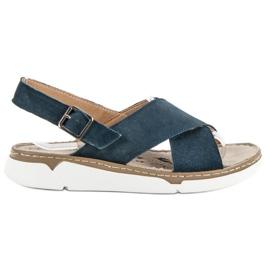 Filippo blå Læder sandaler på platformen