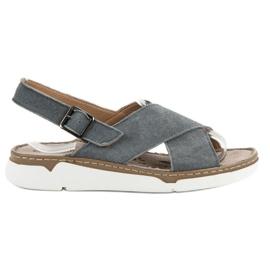 Filippo grå Læder sandaler på platformen