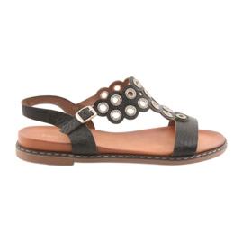 Kvinders sorte sandaler zircons Sergio Leone
