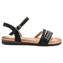 Groto Gogo sort Sandaler med brocade