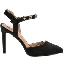 Kylie sort Stilettos med en udsat hæl